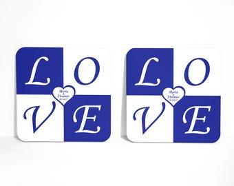 Unique Engagement Gift, Set of 4 coasters, Personalized Coasters, Coaster Set, Wedding gift, Practical Wedding Favor, Wedding Coasters