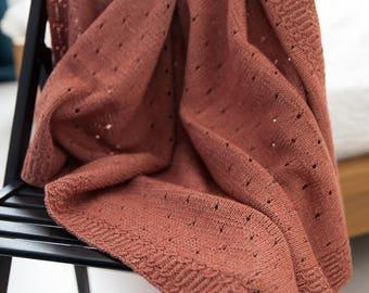Knit Baby Blanket Peach