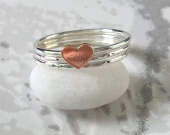 Sterling Silver Stacking Rings, Set of Three Rings, Stacking Rings Set, Silver Ring with a Copper Heart, Copper Heart Ring, Mixed Metal Ring