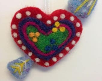 Needle Felted Hanging Heart with Arrow