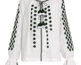 Free shipping! Embroidered white with black blouse boho style