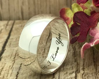8mm Personalized Engrave Stainless Steel Wedding Ring, Promise Ring, Wedding Ring, Men's Wedding Band, High Polish, Classic Dome