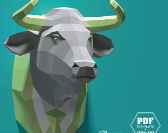 Faux Taxidermy Cow, Papercraft Bull, Pdf Kit, 3D DIY Bull Head, DIY Paper Sculpture, 3D Puzzle DIY, Low Poly Cattle, Taurus, Bull in a Suit