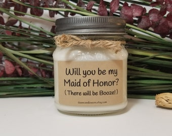 Bridesmaid Proposal - Will you be my Maid of Honor Gift - 8oz Soy Candles Handmade - Bridal Party Favors - Wedding Candles - Matron of Honor