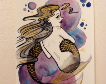 Hand embellished print // Mermaid Bubbles {Purple}