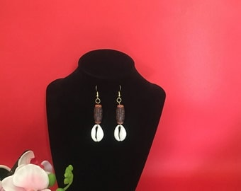 Cowrie Shell bead earrings