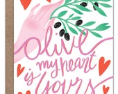 Olive My Heart is Yours Valentine's Day Card   Love Card   Romance Card   Anniversary   Engagement   Wedding   Olive   Hearts   Hand