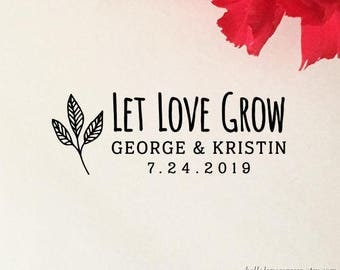 Let Love Grow Stamp, Personalized Wedding Favor Stamp, Wood Stamp, Self Inking, Let Love Grow Favor Stamp, Seed Favors, Plant Favors Stamp