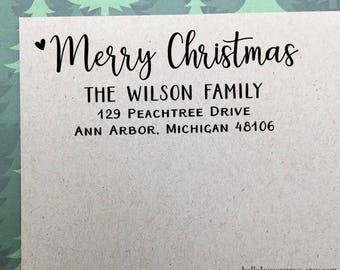 Personalized Christmas Address Stamp, Custom Return Address Stamp, Self-Inking Stamp, Christmas Address Stamp, Holiday Wooden Rubber Stamp
