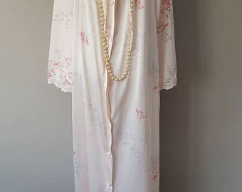 L / JC Penney Misses Robe / Dusty Peachy-Pink Floral Pattern / Long Robe / Vintage / Large