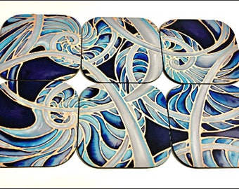 Tableware Coasters, Set of 6 - Nautilus Shell Drink Coasters - Blue, Grey  Black Silk Painting Print Tableware - Coffee Table Art - Gift