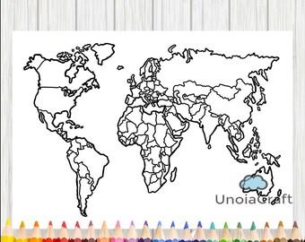 World map print etsy blank world map coloring page printable world map sheet travel map diy print gumiabroncs Choice Image