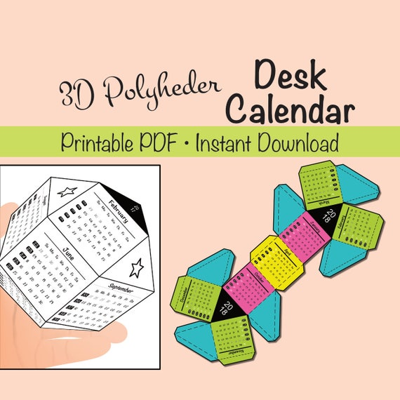 Kids Desk Calendar : Polyheder d desk calendar printable for kids and adults