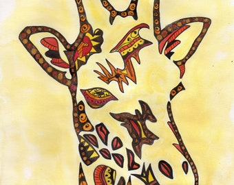 african animals Mandala Giraffe original watercolour painting