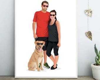 Custom family portrait, custom couple illustration, personalized portrait, group portrait, portrait illustration with pets