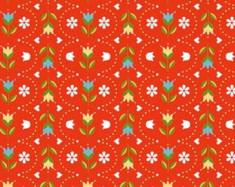 By The HALF YARD - Dutch Treat by Betz White for Riley Blake, #C5284 Dutch Stripe Red, White, Blue and Yellow Tulips and Dots Scallop Lines