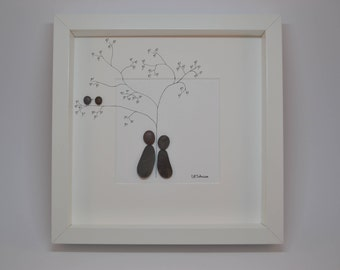 Pebble Art Couple with two Birds, Pebbleart People Thinking, Contemporary Artwork