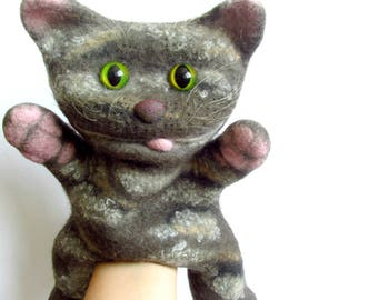 Hand puppet Bibabo Cat puppet Organic baby gift Ecofriendly toy Waldorf toy Nursery toy Wool soft toy Children's theater