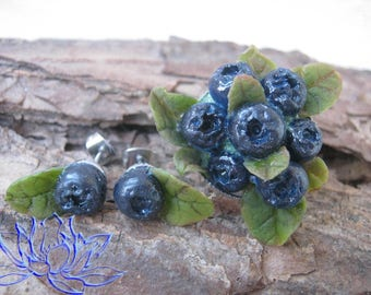 Set with blueberries, a ring and earrings, a ring with schernik, earrings with blueberries, 100% handmade,jewelery set