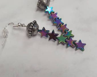 Holographic Ufo and Stars Dangle Earnings, Holographic Earrings, Space Earrings, Alien Earrings, Rainbow Earrings, Tumblr, Futuristic