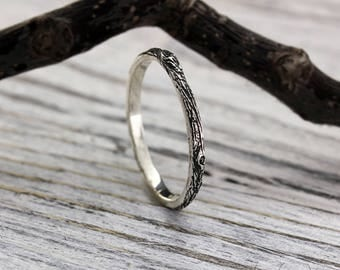 Tree bark sterling silver thin wedding band, Womens tree bark wedding ring, Tiny wedding ring, Tree wedding band, Women's small ring