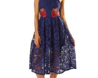 Womens Royal Blue Guipure Lace Dress With Flower Patches