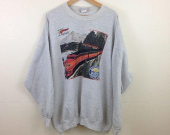Vintage Southern Pacific Railroad Shasta Daylight Train Sweatshirt - Size 2XL - Made in USA