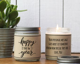 Happy New Year Gift | Happy New Year Candle | New Year's Ever Hostess Gift | Send New Year's Eve Gift | Happy New Year Card | Holiday Candle