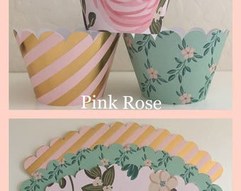 Pink, Bue and Gold Cupcake Wrappers