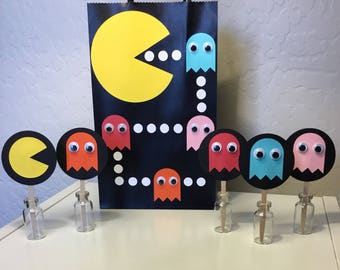 Pac-Man Party Bags Bundle with Cupcake Toppers