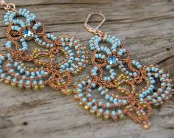 Copper Blue Tatted Chandelier Earrings, Beaded Earrings, Copper Filigree Dangle Earrings, Best Selling Item, Frivolite Tatting Lace Jewelry