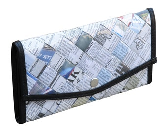Small snap wallet using daily newspaper - FREE SHIPPING -  Envelop wallet - Upcycled purse - naveh milo - upcycled newspaper purse