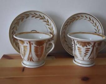 Antique porcelain cups, set of 2, old Paris-Vieux Paris-Decorum in pure gold Empire style