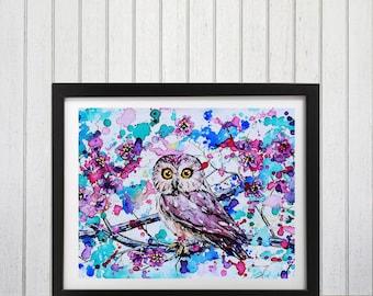 Owl, Woodland owl print, Watercolor Owl Art Print, Owl decor, Nursery wall art, Woodland animals, Woodland theme decor