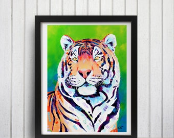 Tiger wall art print, Tiger decor, Tiger lover gift, Tiger painting, Tiger art, Forest theme decor, Brightly colored, Big cat art
