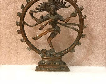Statue - Mantel Piece - Shiva Nataraja - Lord Of Dance - Destroyer Of Ignorance In The World - Solid Metal