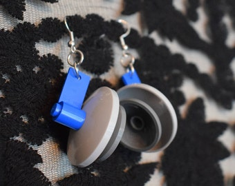 Handmade Grey and Blue LEGO earrings