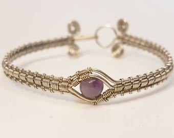 Silver plated eye Amethyst bracelet