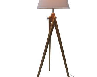 "Doris 59.06"" Height Tripod Bamboo Wood Floor Lamp with White Fabric Shade"