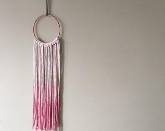 Ombré pink dip dye macrame copper hoop wall hanging