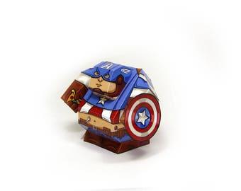 Captain America - Paper Toy Captain America - DIY Paper Craft Kit - 3D Paper Figure Captain America