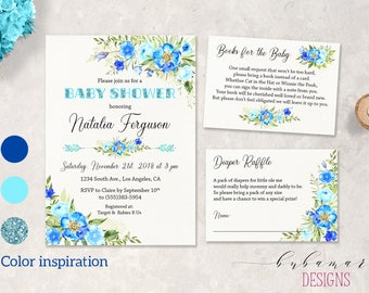 Blue Boy Baby Shower Invitation Floral Aqua Gold Glitter Boy Baby Shower Invite Boho Invitation Peonies Baby Shower Invite Set - CS024