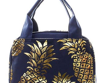 Embroidered Navy with Gold Pineapple Lunch Bag-Personalized Lunch Bag-Monogram Lunch Bag-Monogrammed Lunch Bag-Embroidered Lunch Bag