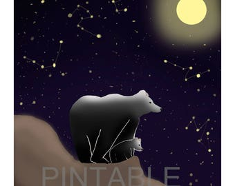 Bear poster under the Moon