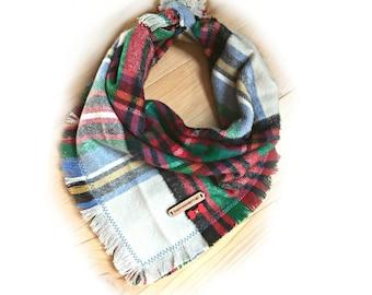 Dog Bandana, Plaid dog bandana, dog scarf, dog bandanna, puppy bandanas, flannel dog bandana, dog scarfs, dog bandana personalized: GLACIER