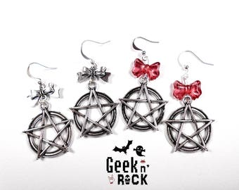 Gothic earrings - Gothic pastel Pentacle