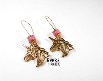 Unicorn pastel origami earrings