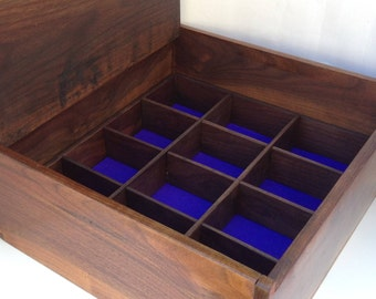 Rutherford – shown in walnut as ties box, can be customised in wood and interior. Handmade, fine wood box, contemporary design.