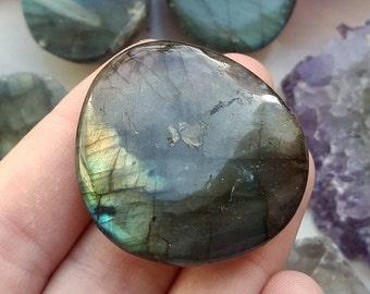 Green and Gold Labradorite Palmstone