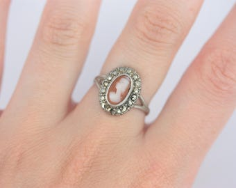 Art Deco Cameo Ring, Carved Shell Cameo Ring, Silver Marcasite Ring, Sterling Silver Antique Ring, Vintage Marcasite Ring